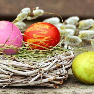 Värjättyjä pääsiäismunia ja pajunkissoja.