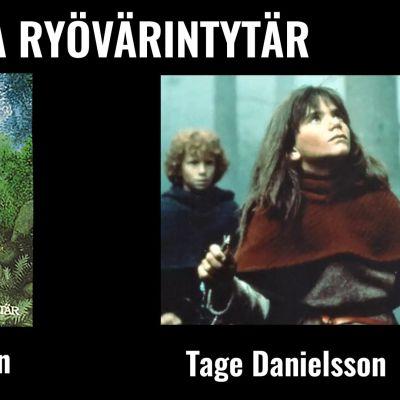 Kuvassa Ronja, ryövärintytär -kirjan kannesta sekä otos elokuvasta Ronja Ryövärintytär.