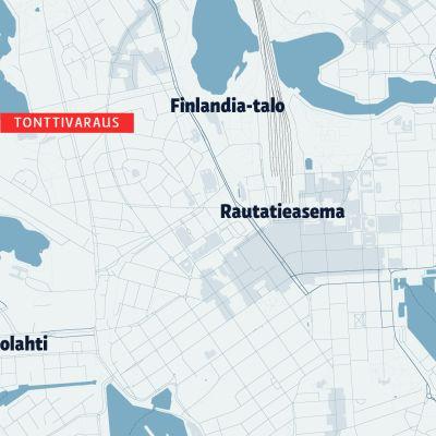 Kartta Taivallahden kylpylähotellin tonttivarauksen sijainnista.