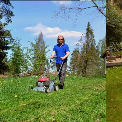 En tvådelad bild av en man som drar ett lakan efter sig och en man som klipper gräset.