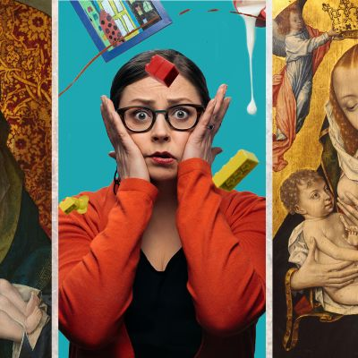 Artikkelikuva Huono vanhemmuus -testiin. Kuvassa kaksi ikonia imettävästä äidistä sekä toimittaja Kaisa Pulakka.