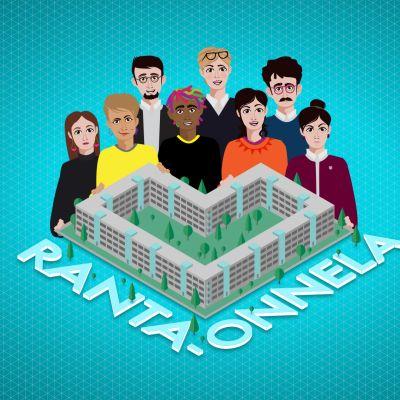 Onnela-nimisen lähiönkehittämispelin aloituskuva. Pelihahmot seisovat Onnela-logon takana.