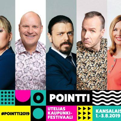 Pointti-tapahtumagrafiikkakehyksessä rivissä: Emma Karasjoki, Eeva Vekki, Kalle Palander, Ander Helenius, Mikko Kekäläinen, Piia Pasanen ja Susanna Laine.