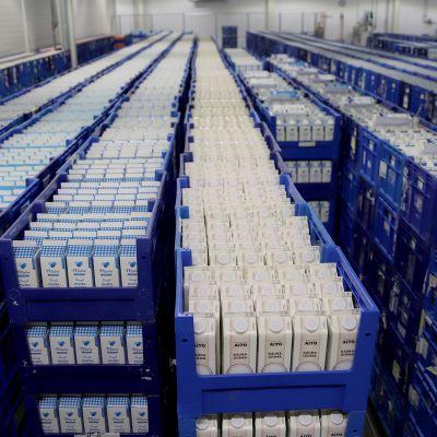 Kaslinkin varastossa tuhansia kaurajuoma- ja maitotölkkejä