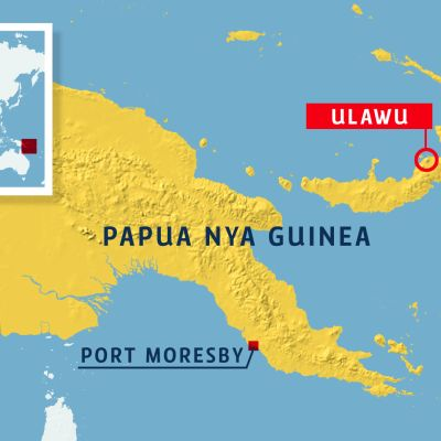 karta över papua nya guinea och mer specifikt bild på var vulkanen Ulawu finns