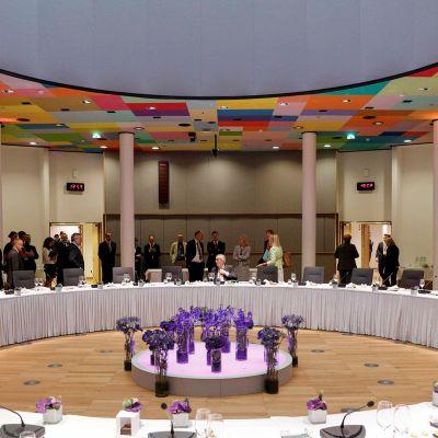 EU-huippukokouksen kokouspaikka Brysselissä.