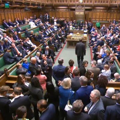 Brittiska parlamentet i session.