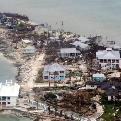 Ilmakuvaa Dorianin tuhoista Bahamasaarilla 3. syyskuuta.