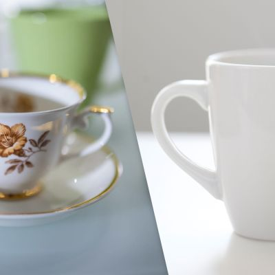 Arabian Myrna-sarjan kahvikuppi ja tavallinen valkoinen kahvikuppi