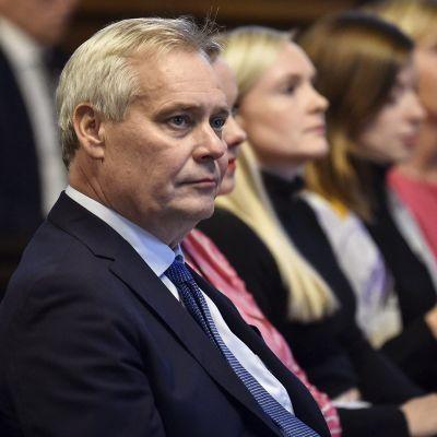 Pääministeri Antti Rinne (SDP) hallituksen talousarvioneuvottelujen loppuinfossa Helsingissä 17. syyskuuta.