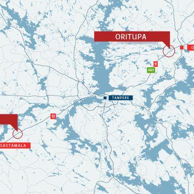 Ohituskaistoja parannellaan Ellivuoren liittymän kohdalla sekä Orituvan ja Yliskylän välisellä alueella