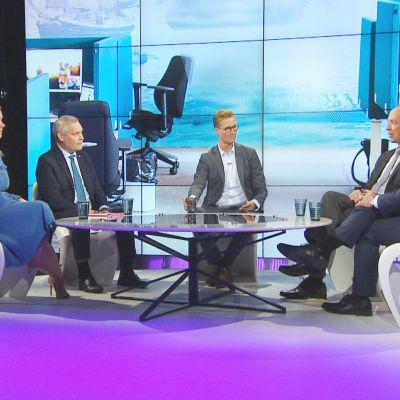 Katri Kulmuni, Antti Rinne, Jussi Halla-aho ja Petteri Orpo A-Talkin vieraina.