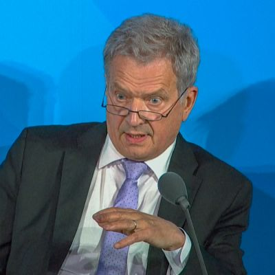 President Sauli Niinistö håller tal under FN:s klimatmöte i New York.