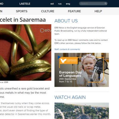 Kuvakaappaus Viron yleisradionyhtiön ERR:n nettisivuilta aiheesta.