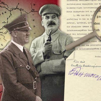 Kuvassa Stalin ja Hitler ja hyökkäämättömyyssopimuksen salainen lisäpöytäkirja