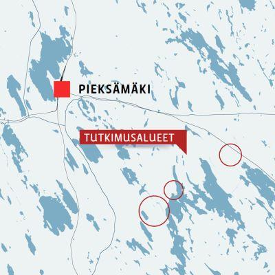 Kartta Pieksämäen lähikunnista joiden alueelle hankittu malminetsintälupa