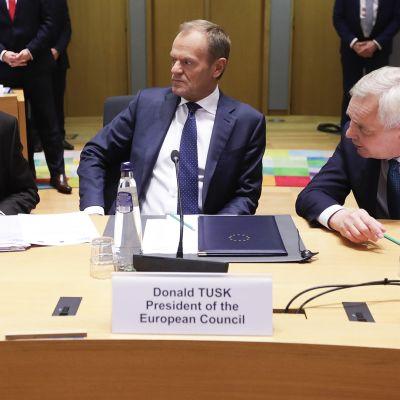 EU-huippukokouksen lehdistötilaisuus Brysselissä