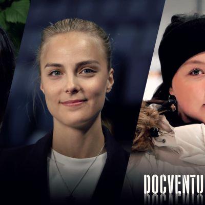 Manuela Bosco, Kiira Korpi ja Olivia Tuuva yhteiskuvassa.