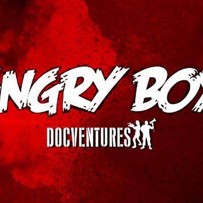 Angry Boys -logo ja Docventures logo punaisella pohjalla