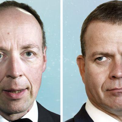 Puheenjohtajat Jussi Halla-aho (ps.) ja Petteri Orpo (kok.)
