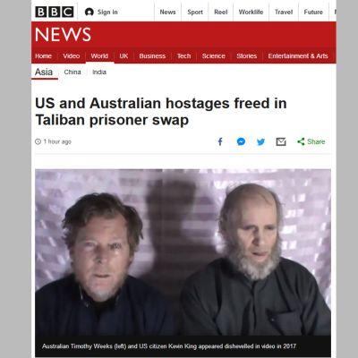 Talibanin vankeina olleet Timothy Weeks ja Kevin King