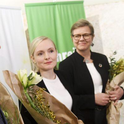 ulkoministeri Pekka Haavisto, sisäministeri, puheenjohtaja Maria Ohisalo ja ympäristöministeri Krista Mikkonen.