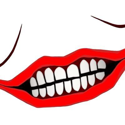 Jokerin piirretty punainen suu hampaineen.