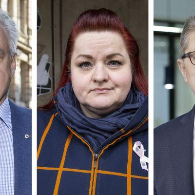 Kuvakollaasissa Olli Luukkainen, Millariikka Rytkonen ja Markku Jalonen.