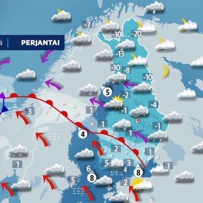 Sääennuste perjantaille 20. joulukuuta.