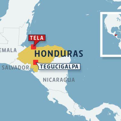 Honduras kartta.