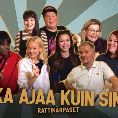 Kuvassa kuskit Rattikärpäset-ohjelmasta