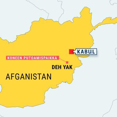 Adfganistanin kartta, Kabul ja Deh Yak merkittynä