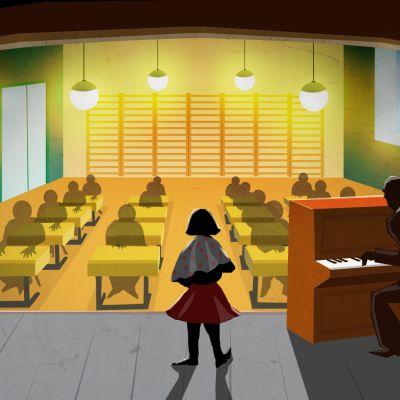 Tyttö laulukokeessa luokan edessä.