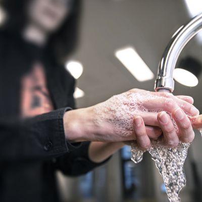 Ihminen pesee käsiään.