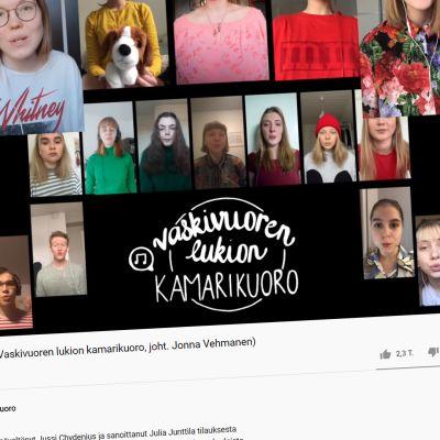 Kuvakaappaus Youtubesta Vaskivuoren lukion kamarikuoron Pelottomien riemulaulu -videosta.