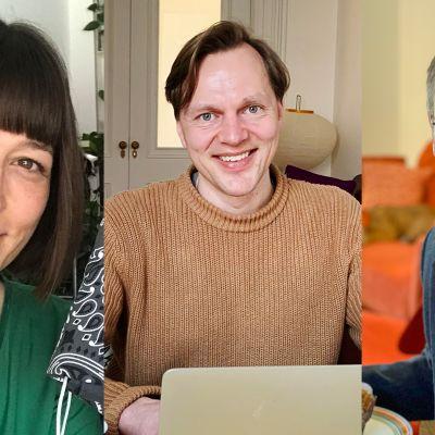 Kolmen henkilön kuvakoosteessa Kirsi Joenpolvi, Johannes Suikkanen ja Tuomas Hiltunen.