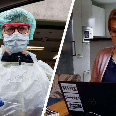 Kaksi kuvaa rinnastettuna: toisessa sairaanhoitaja ottamassa koronavirusnäyettä, toisessa kuvassa etätyöläinen kotona tietokoneen ääressä