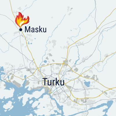 Kartta mihin merkitty Masku ja Turku