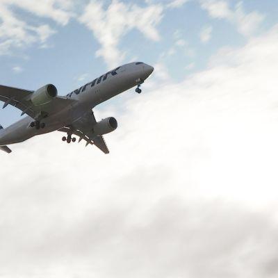 Kiinasta suojavarusteita kuljettava Finnairin kone laskeutuu Helsinki-Vantaan lentoasemalle.