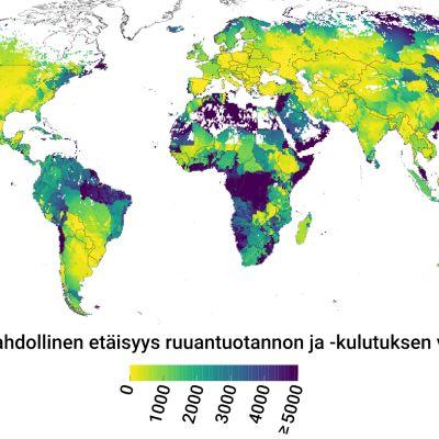 Lyhin mahdollinen etäisyys ruuantuotannon ja -kulutuksen välillä, Maailmankartta