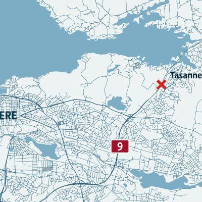 Kartta liikenneonnettomuudesta Tampereella.