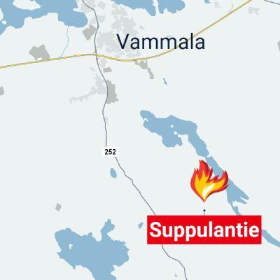 Kartta Suppulantien sijainnista