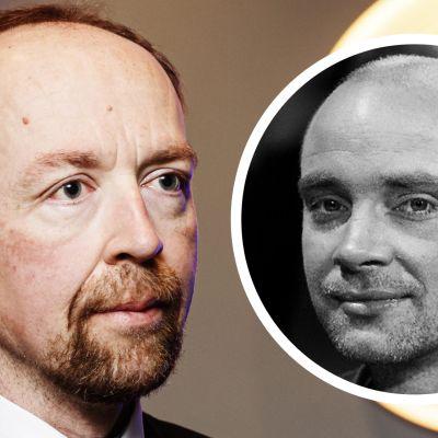 Kommentarsbild med reporter Fredrik Wahlström till höger och Sannfinländarnas ordförande Jussi Halla-aho till vänster.