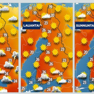 juhannuksen lämpötilat kartalla