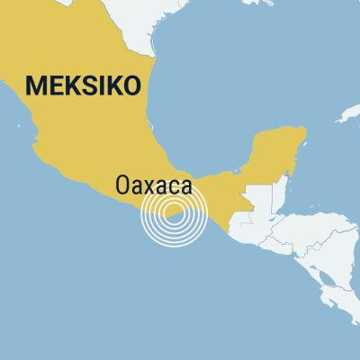 Järistysalue kartalla, Oaxaca Meksiko.