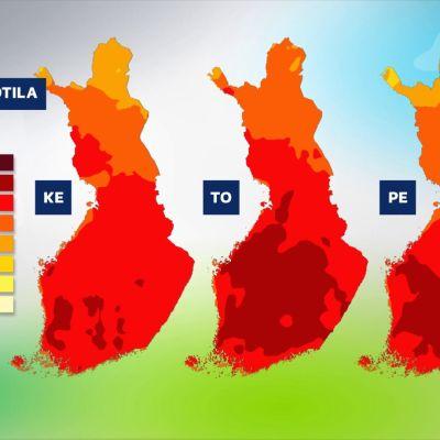 Helteisiä lämpötiloja kartalla