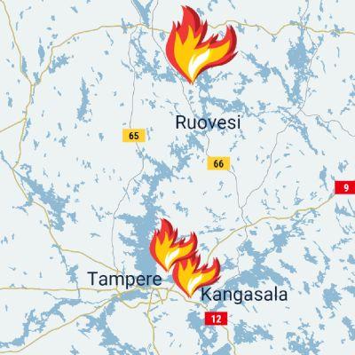 Kartta palojen sijainneista