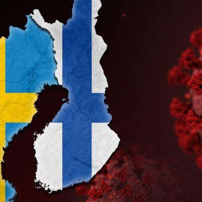 Jutun pääkuva, jossa Suomen ja Ruotsin lipun näkyvät kyseisten maiden muotoisina. Taustalla taiteilijan visio COVID19-viruksesta.
