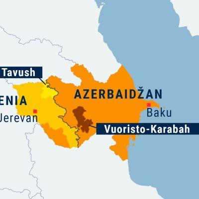 Armenia ja Azerbaidžan kartta, Tavush ja Vuoristo-Karabah alueina