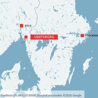 Karta där Oslo, Sarpsborg och Stockholm är utmärkta.
